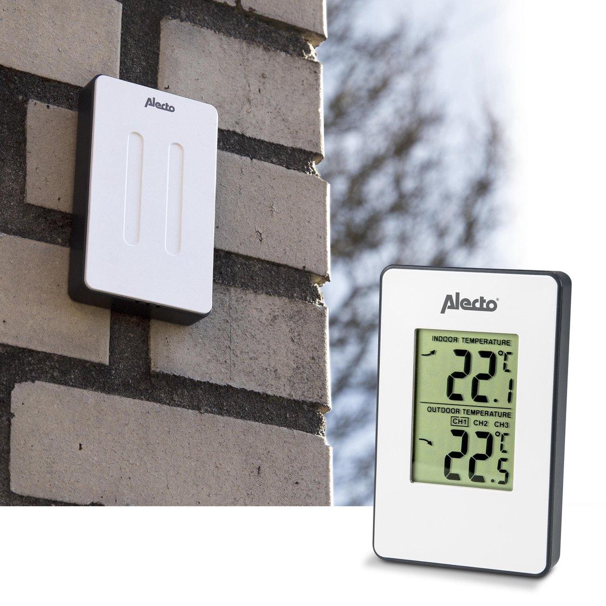 Alecto WS-1050 Draadloos weerstation - Meet binnen- en buitentemperatuur in Compact formaat - Wit