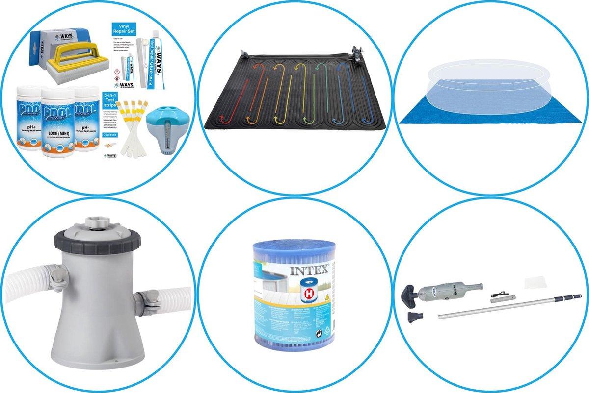 Zwembad Accessoirepakket 5-delig - WAYS Onderhoudspakket & Zwembad verwarming & Filterpomp (28602GS) + Filter & Zwembad stofzuiger & Grondzeil