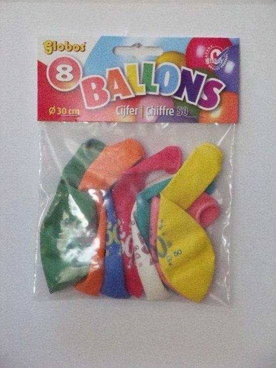 Ballonnen Cijfer 50 No. 12 eenzijdig 1 zakje met 8 stuks