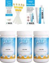 Poolpower - Voordeelset - Chloortabletten voor zwembaden - 3 kilogram & WAYS Reparatieset en Teststrips