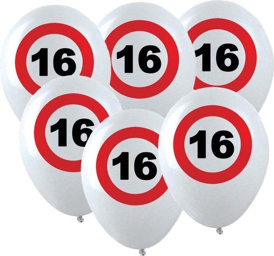 24x Leeftijd verjaardag ballonnen met 16 jaar stopbord opdruk 28 cm