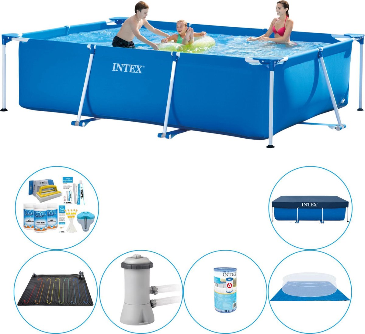 Intex Frame Pool Rechthoekig 300x200x75 cm - Zwembad Plus Accessoires