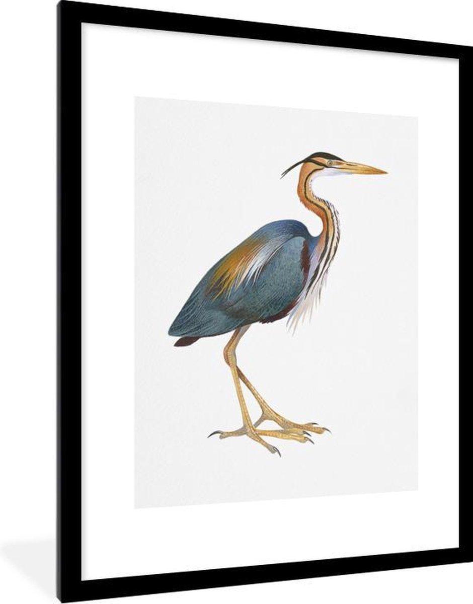 Poster met lijst Dieren illustraties - Aquarel illustratie van een grote waadvogel - fotolijst zwart - 60x80 cm - Poster met lijst