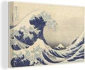 De grote golf bij Kanagawa - Schilderij van Katsushika Hokusai Canvas 90x60 cm - Foto print op Canvas schilderij (Wanddecoratie woonkamer / slaapkamer)