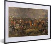 Foto in lijst - Slag bij Waterloo - Schilderij van Jan Willem Pieneman fotolijst zwart met witte passe-partout klein 40x30 cm - Poster in lijst (Wanddecoratie woonkamer / slaapkamer)