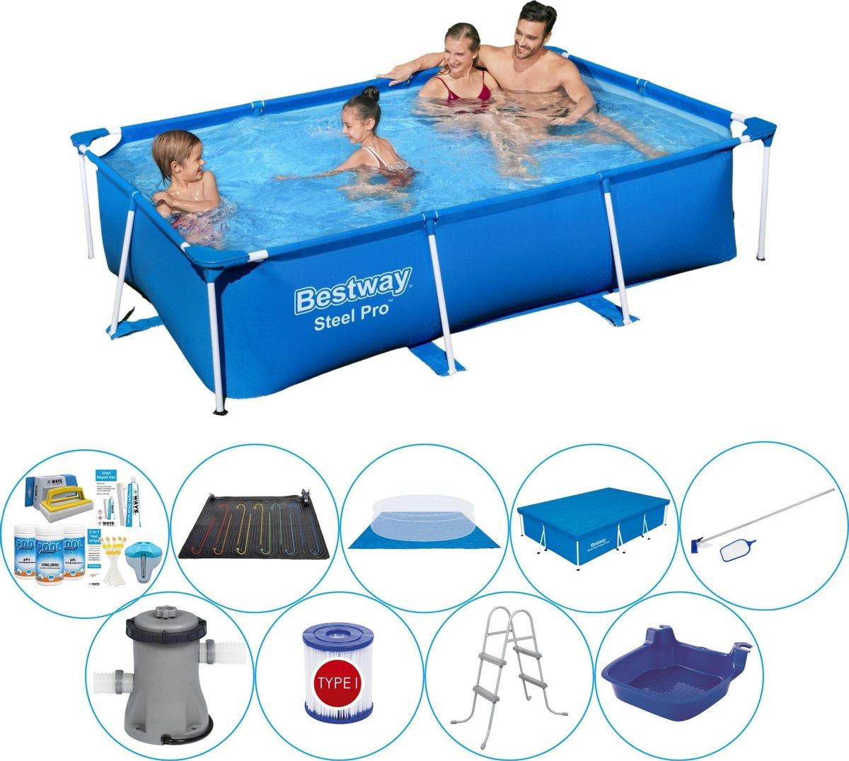 Bestway Steel Pro Rechthoekig Zwembad - 259 x 170 x 61 cm - Blauw - Deluxe Set