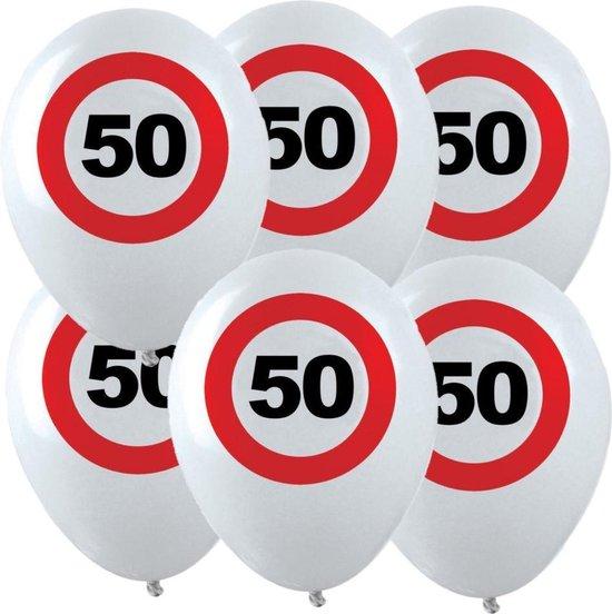 12x Leeftijd verjaardag ballonnen met 50 jaar stopbord opdruk 28 cm