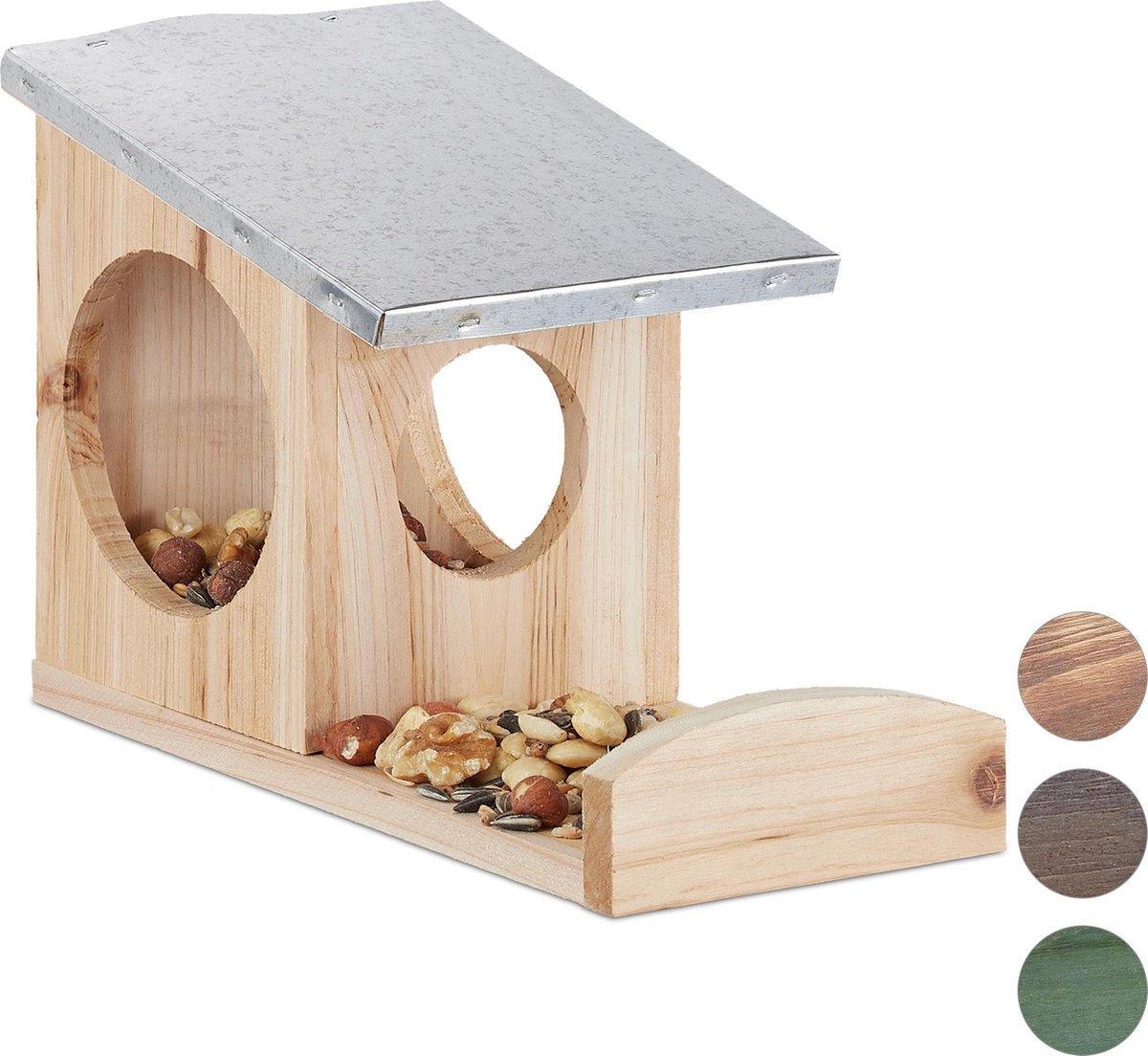 relaxdays eekhoorn voederhuisje - om op te hangen - metalen dak - hout - eekhoornhuis Naturel