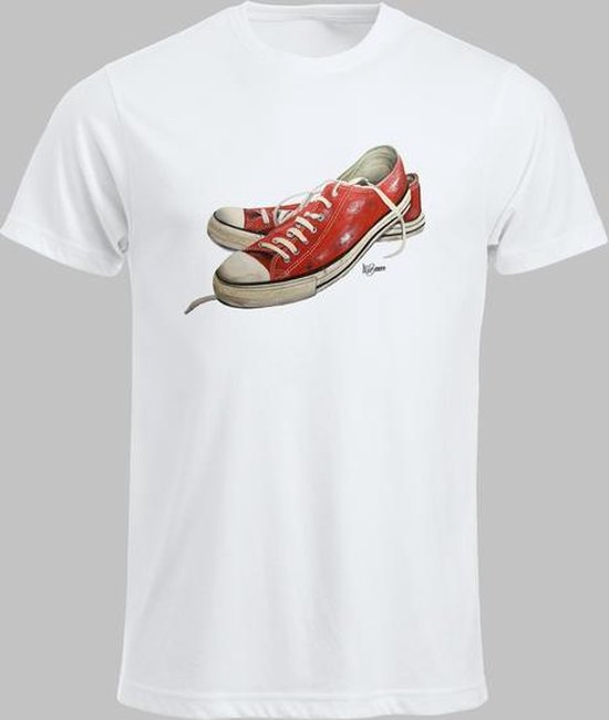 T-shirt M Lage sneakers in rood - Wit - M - M Sportshirt