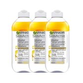 SkinActive Micellair Reinigingswater voor Langhoudende en Waterproof Make-up - 3 x 400 ml - Micelair Water Voordeelverpakking