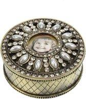 Rond opbergdoosje  doosje sieraden - bronskleurig met parels, strass en antieke foto