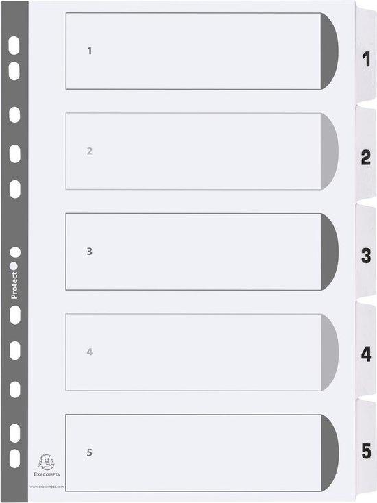 25x Bedrukte tabbladen karton 160g - geplastificeerde tabs - 5 tabs - 1 tot 5 - A4, Wit
