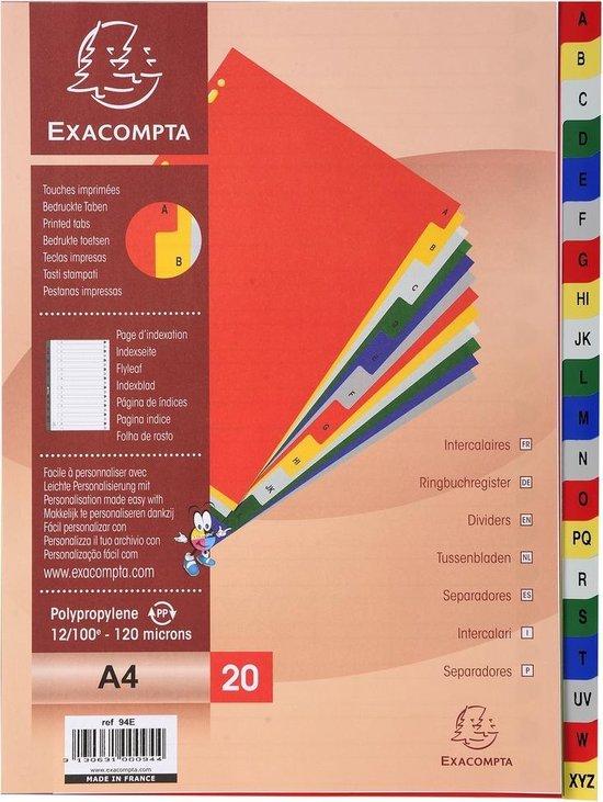 20x Tabbladen met bedrukte tabs in gekleurde PP - 20 tabs - A tot Z- A4