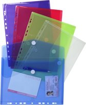 10x Pak van 5 geperforeerde envelop showtassen PP 20/100ste - met klittenband sluiting - A4, Geassorteerd