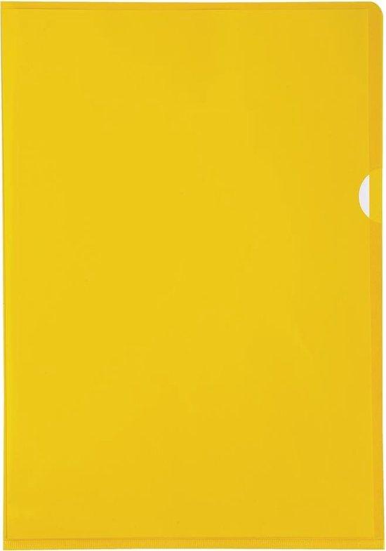 10x Pak van 10 L mappen - gladde PVC 13/100e - A4, Geel