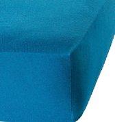 Het Ultieme Zachte Hoeslaken- Jersey -Stretch -100% Katoen-Lits-Jumeaux- 200x220+40cm- Blauw - Voor Boxspring-Waterbed