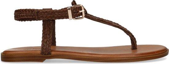 Sacha - Dames - Bruine gevlochten leren sandalen - Maat 37