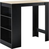 Bartafel met 3 planken 110x50x103 cm zwart en eikenkleurig