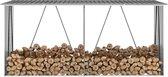 Haardhoutschuur 330x84x152 cm gegalvaniseerd staal grijs (incl. Werkhandschoenen)
