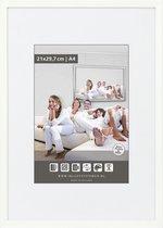 Vlakke Aluminium Wissellijst - Fotolijst - 60x80 cm - Helder Glas - Wit - 10 mm