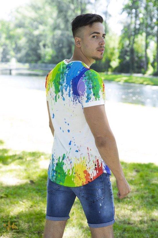Merkloos Model Is 1.80m Lang En Draagt Een Maat M. Heren T-shirt S