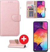 Samsung Galaxy S10 Plus hoesje book case rose goud met tempered glas screen Protector