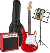 Elektrische gitaar - Johnny Brook JB404 elektrische gitaar starterset met rode gitaar, 20W gitaarversterker, muziekstandaard en accessoires