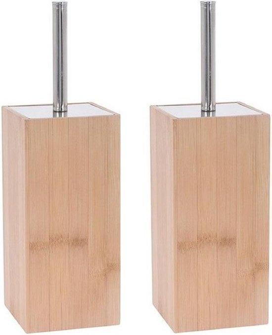 2x Bamboe houten toiletborstels houder 34 cm - Toiletborstelhouders/wc-borstelhouders voor toilet - Schoonmaakproducten