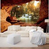 Fotobehang Vlies - Waterval - Natuur - Bruin - 368x254cm (bxh)