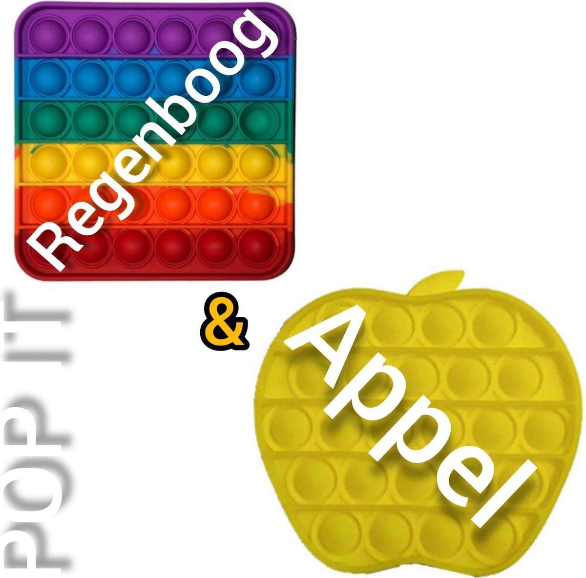 Pop it | Fidget toys pakket | Regenboog vierkant + Appel geel | Meisjes jongens volwassenen | Anti stress 2021 | Cadeautip _ Leuk voor zwembad