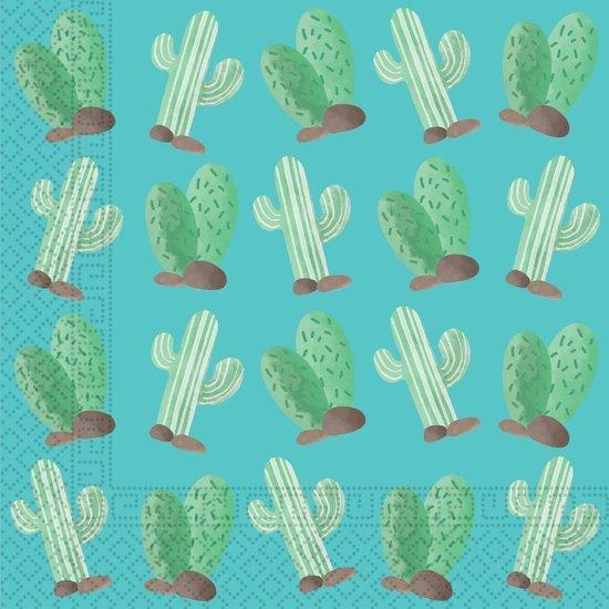 Procos Servetten Cactus 33cm Papier Blauw/groen 20 Stuks