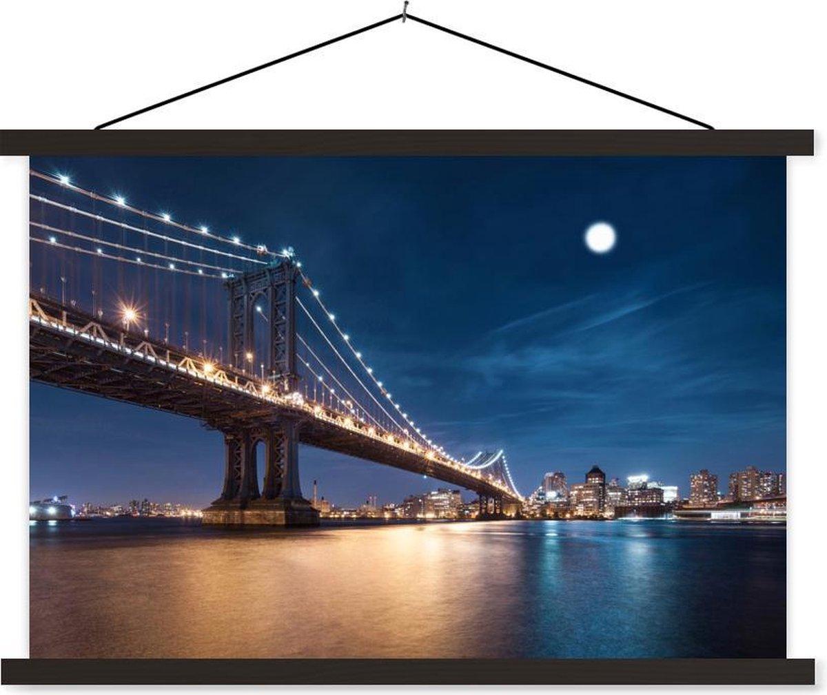 Maanlicht over de brug van Manhattan schoolplaat platte latten zwart 90x60 cm - Foto print op textielposter (wanddecoratie woonkamer/slaapkamer)