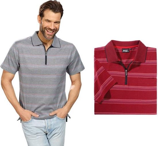 Poloshirt, Blauw gestreept, Maat M
