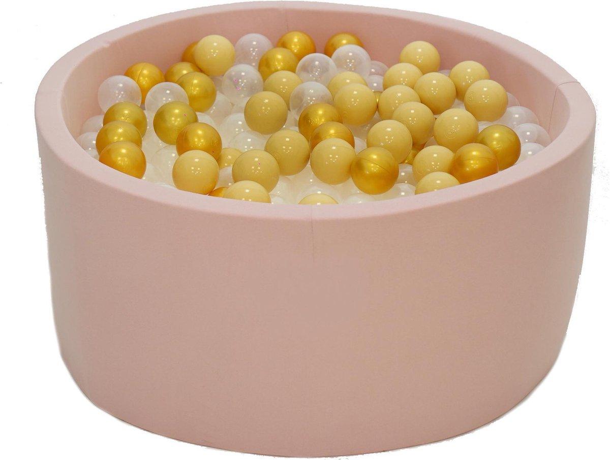 Ballenbak Roze 90x40 met 250 ballen Goud, Beige, Transparant