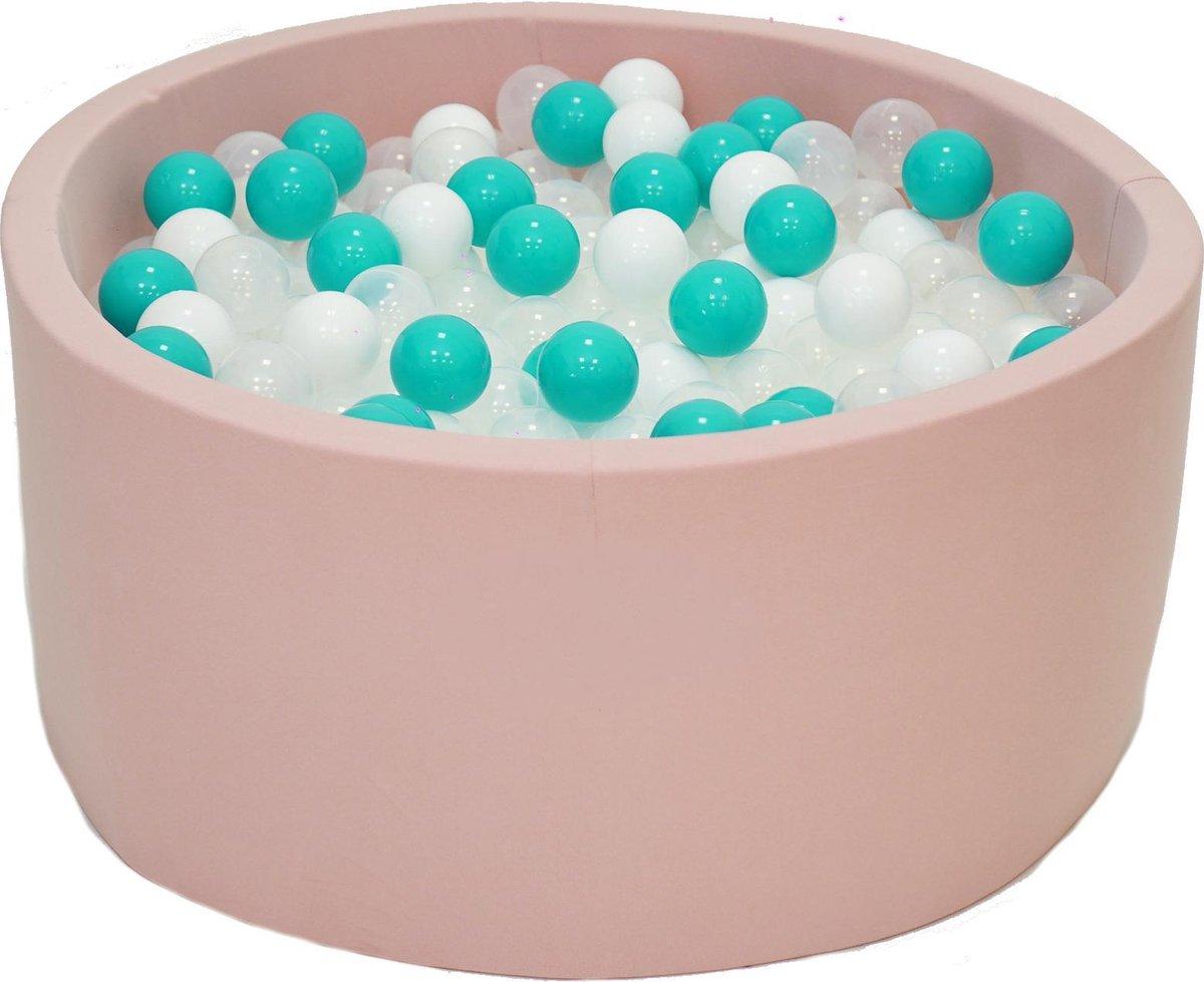 Ballenbak Roze 90x40 met 250 ballen Turquoise, Wit, Transparant