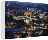 Foto vanuit de lucht van de stad Tbilisi Canvas 30x20 cm - klein - Foto print op Canvas schilderij (Wanddecoratie woonkamer / slaapkamer)