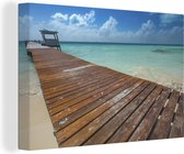 Promenade bij de Caribische Zee in het Noord-Amerikaanse Isla Mujeres Canvas 140x90 cm - Foto print op Canvas schilderij (Wanddecoratie woonkamer / slaapkamer)
