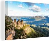 Nationaal park Blue Mountains in Australië bij daglicht Canvas 180x120 cm - Foto print op Canvas schilderij (Wanddecoratie woonkamer / slaapkamer) XXL / Groot formaat!