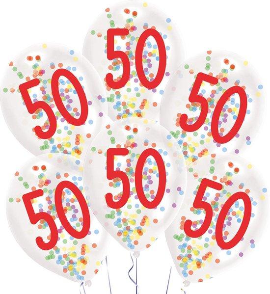 Amscan Ballonnen Confetti 50 Jaar 27,5 Cm Latex Wit 6 Stuks