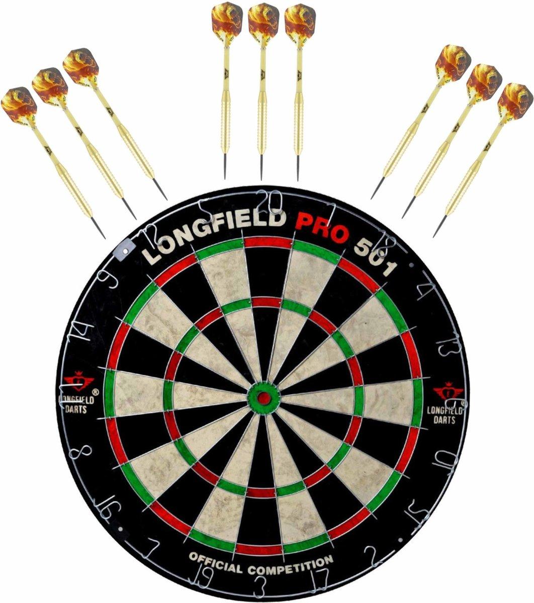 Dartbord set compleet van diameter 45.5 cm met 9x Bulls dartpijlen van 21 gram - Professioneel darten pakket