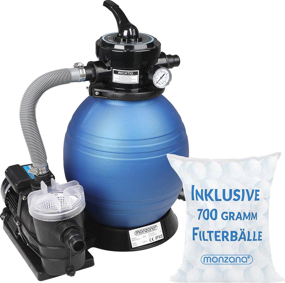Zandfiltersysteem 9.960 l/uur Voorfilter Zwembadfilter + 700 g Filterballen