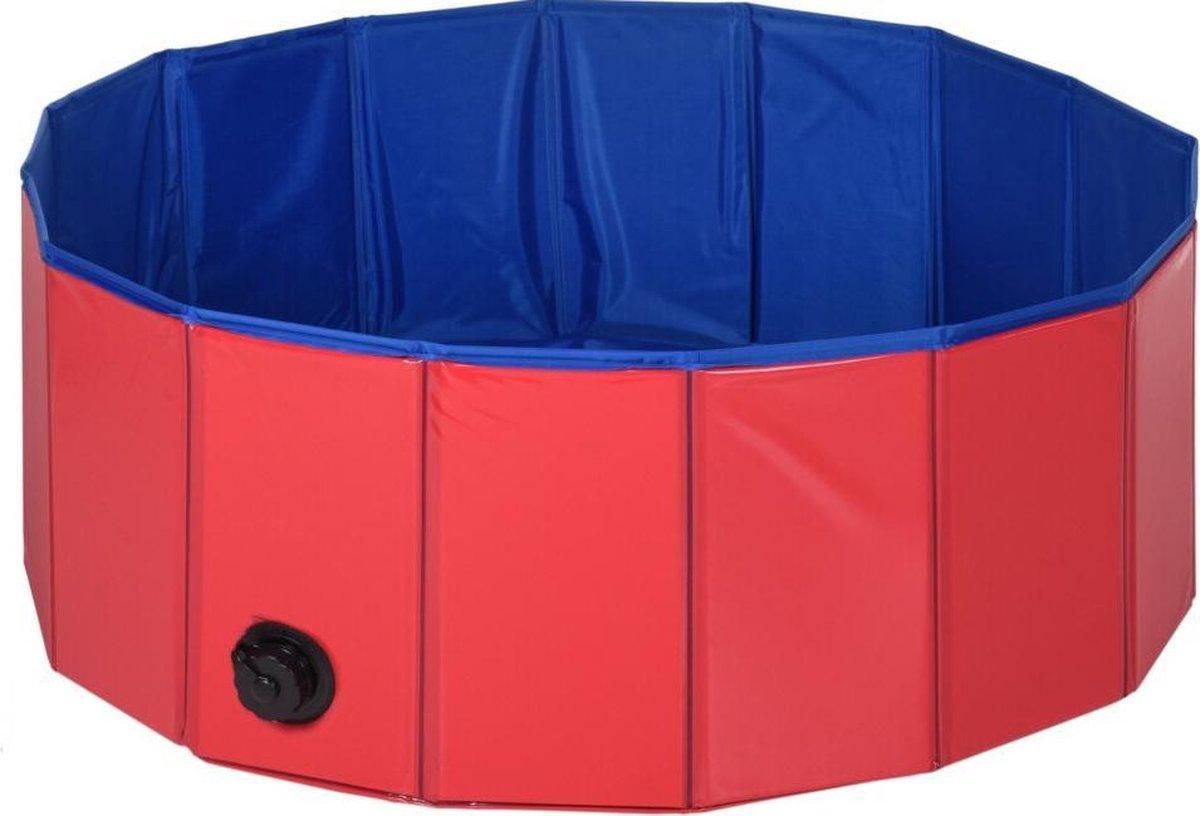 Dierenzwembad -  80x30cm - Hondenzwembad - Dierenplonsbassin - Rood/Blauw