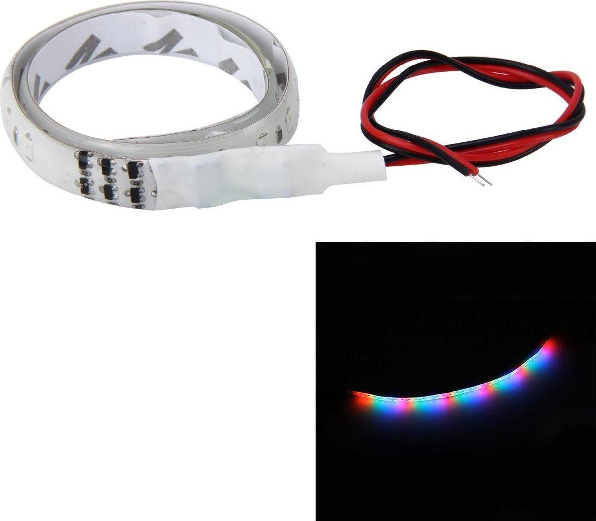 30 cm Kleurrijke Waterstromende Chassis Decoratieve Strip Licht met 32 SMD-2835 LED Lampen voor Auto Motorfiets Elektrische Fiets, DC 12 V