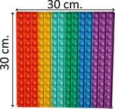 XXL Pop It Fidget Toy - Vierkant - Rainbow - 30 x 30 cm.