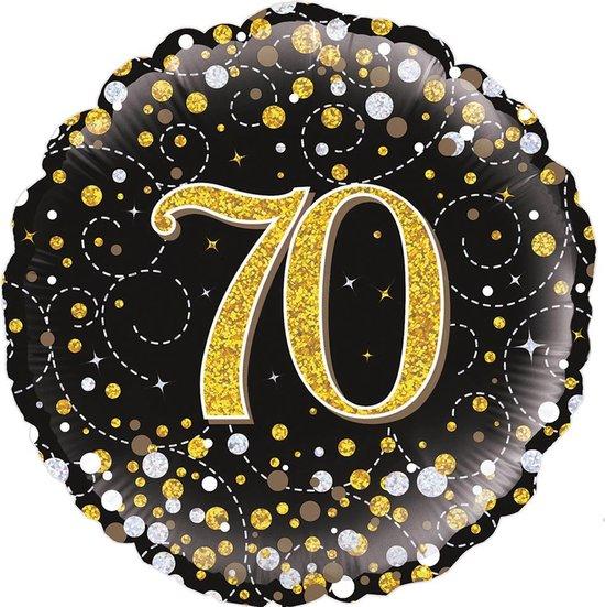 Glitter helium folie-ballon 70  jaar zwart goud.
