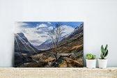 Prachtige zonnestralen boven de Ben Nevis Canvas 30x20 cm - klein - Foto print op Canvas schilderij (Wanddecoratie woonkamer / slaapkamer)
