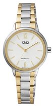 Q&Q dames horloge-goud/zilverkleurig QB97J401