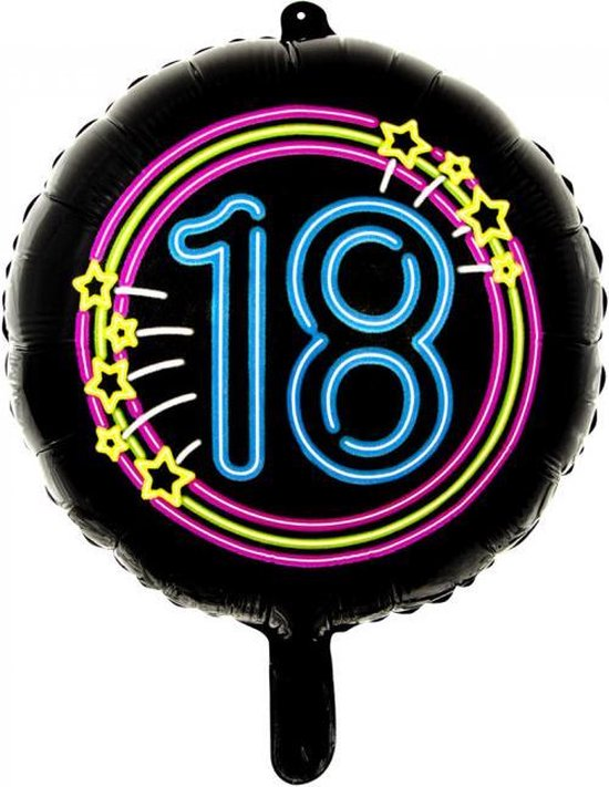 Wefiesta Folieballon 18 Neon 45 Cm Zwart