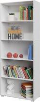Deuba Boekenkast Vela met 5 vakken - wit - 190 x 60 x 31 cm - Basic Scandinavische look