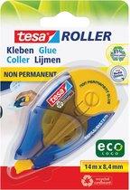 tesa® Lijmroller Niet-Permanent ecoLogo®, herplaatsbaar, 14m:8.4mm, navulsysteem, blauw-geel